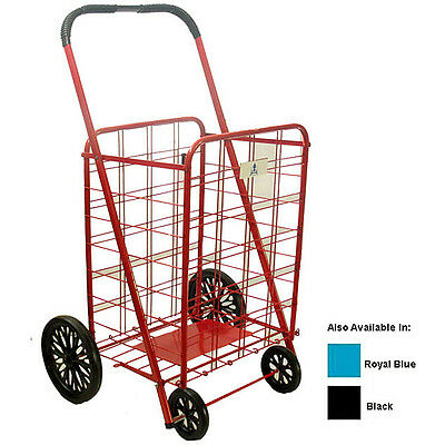 New Extra Large Heavy Duty Blue or Red Shopping Laundry Cart Carrying Groceries