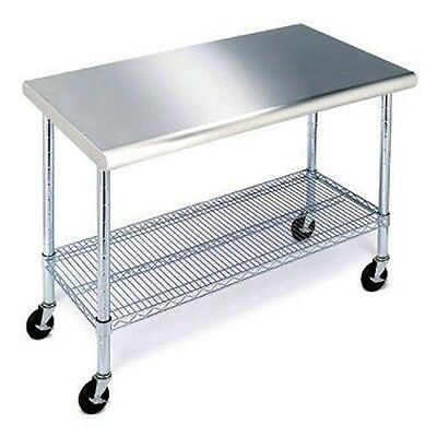"Work Table Stainless Steel Top 49"" Heavy Duty Rolling Adjustable Shelf Cart New"