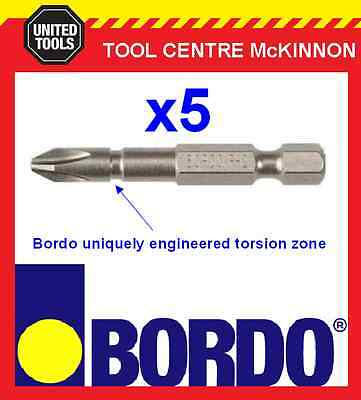 5 x BORDO IMPACT PH2 X 50mm POWER INSERT BITS – GEAT FOR IMPACT DRIVERS!