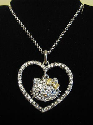 HELLO KITTY Silver Gold Bow Pendant Swarovski Crystal Heart Outline Necklace