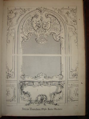 1845 print interior design wall decoration etc Louis xiv interior design