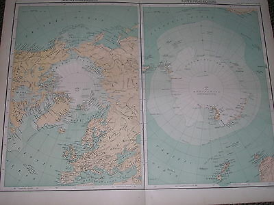 1898 LARGE VICTORIAN MAP ~ NORTH & SOUTH POLAR REGIONS ~