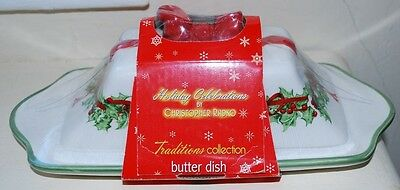 NEW Christopher Radko Holiday Celebrations 1/4 Lb Covered Christmas Butter Dish