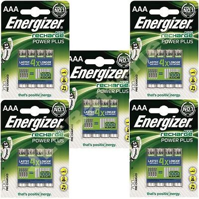 20 x ENERGIZER AAA 700 mAH POWER PLUS Rechargeable Batteries ACCU 700