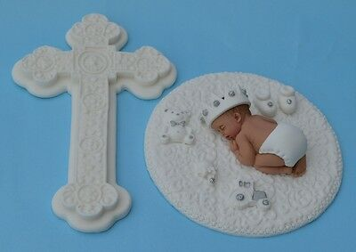 Edible cross & baby prince with white crown Christening cake decoration topper