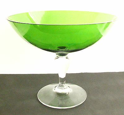 HOLMEGAARD HAND BLOWN LARGE GREEN & CLEAR GLASS GOBLET 1987