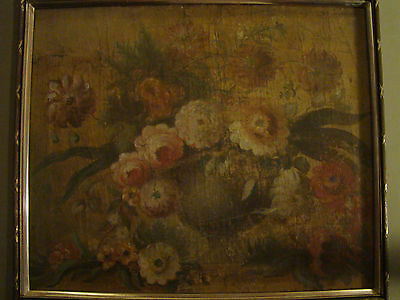 early 19th/late 18th century STILL LIFE floral bouquet OIL on CANVAS framed