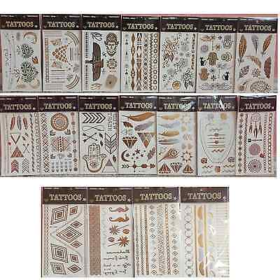 Updated-Temporary Black Gold Silver Metallic Tattoos! US SHIPPING!
