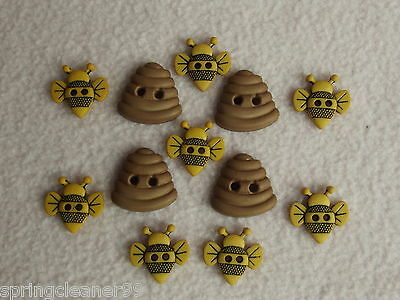 Dress It Up Buttons ~ Sew Cute Bumble Bees ~ 8 Bees ~ 4 Hives ~ Insects ~ Honey