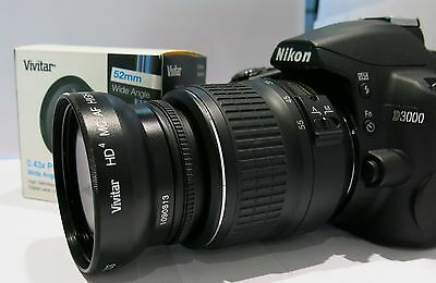 Wide Angle Macro Lens for Nikon Nikkor 50mm f/1.8D .43X  D3200 52mm thread