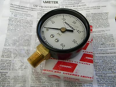"New HARVARD 60 PSI Air Pressure Gauge 0-60 PSI  Bottom/Side Mount Brass 1/4"" NPT"