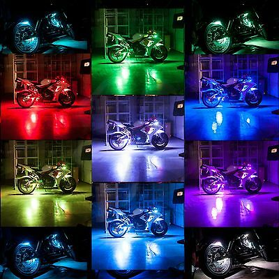 12 Strip LED Kit Wireless Remote Multi Color Light Street Accent Glow Motorcycle