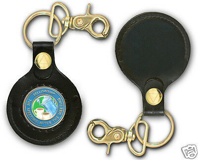 Leather-like  AA Program  Key Fob Coin/Medallion Holder W/Clear Plastic Window