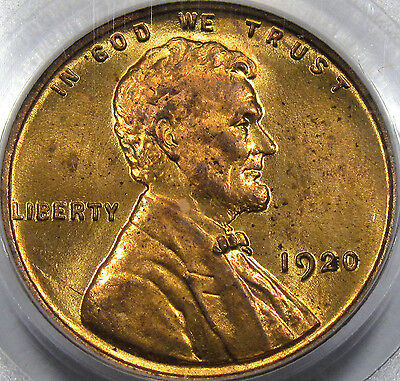 1920 Lincoln Cent Gem BU PCGS MS-64 RD... Very Flashy, Original, Nice RED Color!