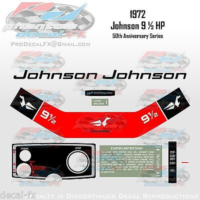 1972 Johnson 9.5 9½ HP Decal Outboard Repro 9 Pc Vinyl 50th Anniversary Series