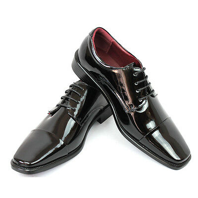 New Men's Dress Tuxedo Shoes Black Cap Toe Patent Leather Shiny Lace Up Parrazo