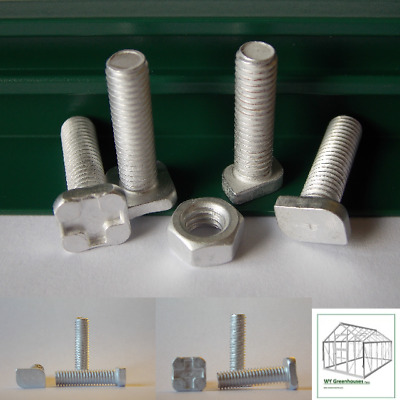 Greenhouse Nuts and Bolts Aluminium 22mm Long Square bolt or Cropped Spare Parts