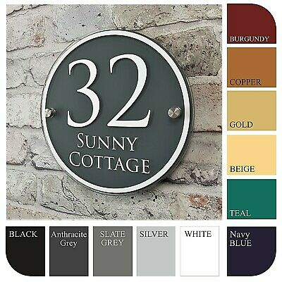 Personalised House Sign Door Number Street Address Plaque Modern Glass Effect
