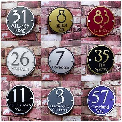 Personalised House Sign Door Number Street Address Plaque Modern Round  Glass