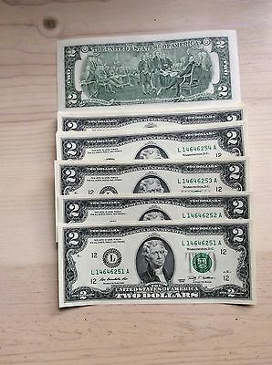 Uncirculated $2 Two Dollar Bill Mint Crisp Note Sequential Order 2009 San Fran