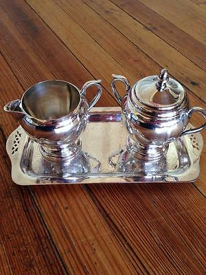 Antique The Sheffield Silver USA Creamer, Sugar w/ lid, Tray--PERFECT!
