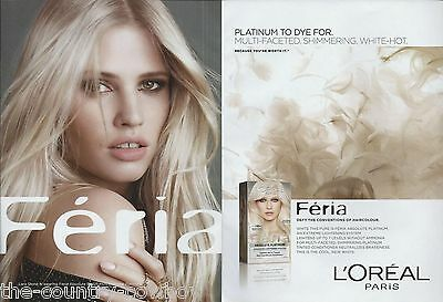LARA STONE  (L'Oreal)  (2 pages)  2014 Print Ad Clipping   =c