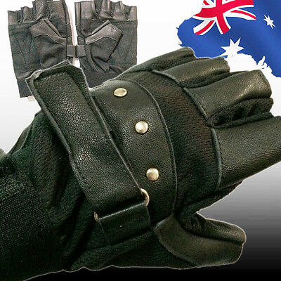 Men's Soft Sheep Leather Driving Cycling Half Finger Fingerless Gloves CGLOV8970