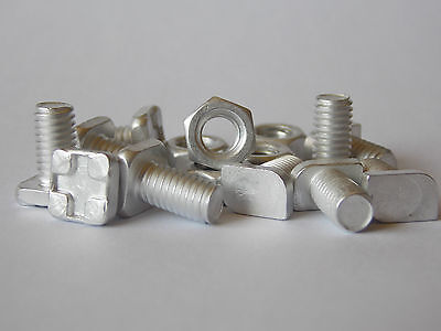 Greenhouse Aluminium 11mm Bolts with Nuts Square or Cropped Head Spare Parts