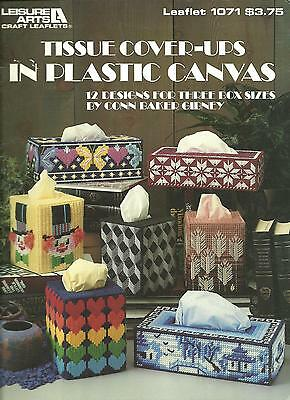 Tissue Cover-ups in plastic canvas pattern booklet, 12 designs