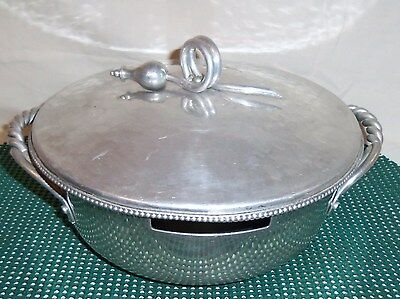 VINTAGE BH BLUENILUM  HAMMERED ALUMINUM BALL AND CONE BOWL AND LID