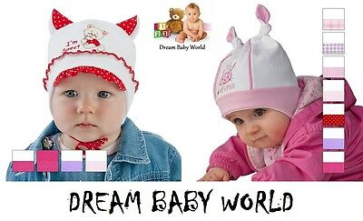COTTON Hat for little girl SPRING / AUTUMN size 0 - 12 months TIE UP GIRLS