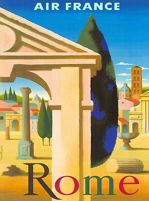 Rome Italy by Airplane Italian Europe Vintage Travel Advertisement ArtPoster
