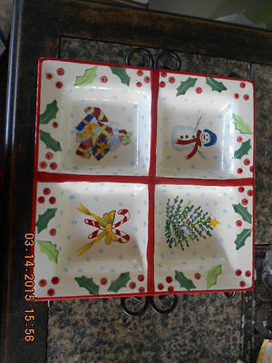 """Block Basics Whimsy Christmas Large 4 section tray 12"""" on metal stand"""