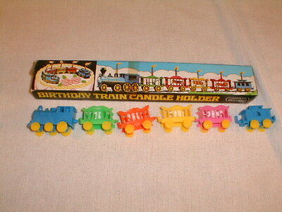 vintage toy train candleholders  plastic birthday party celebrate 1960s box