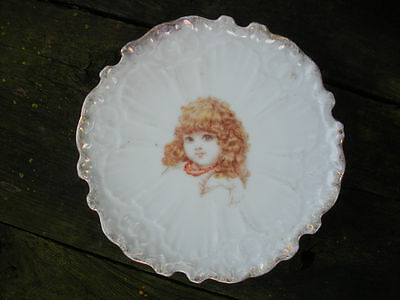Child's Antique Porcelain Plate with Girl w/Necklace