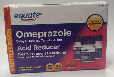 Equate Omeprazole Acid Reducer 42 Delayed Release Tablets 20mg Exp. 07/2015 New