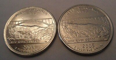 2005 P & D West Virginia State Quarter Set (2  Coins)  **FREE SHIPPING**