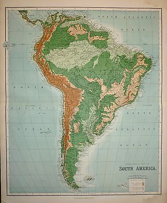 1898 VERY LARGE VICTORIAN MAP ~ SOUTH AMERICA ~ OROGRAPHICAL 26 x 21 inches
