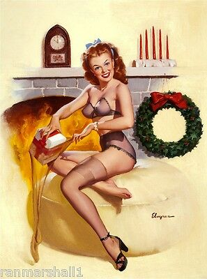 1940s Pin-Up Girl Christmas Stocking Pin Up Picture Poster Print Vintage Art