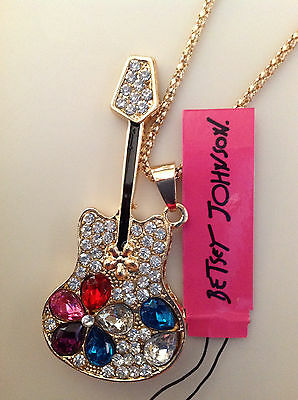 """Women's Pendant 28"""" Necklace CRYSTAL GUITAR W/ CRYSTAL FLOWER Betsey Johnson"""