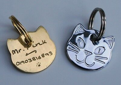 Cat Face Id Tag Hand Engraved Free Gold Or Silver Cat Cute Cat Tag & Split Ring