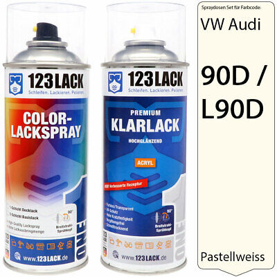 Lackspray VW Audi 90D / L90D PASTELLWEISS Autolack + Klarlack Set 2x400ml Spray