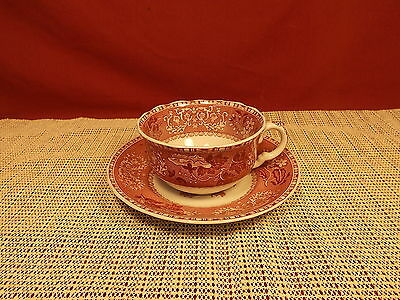 Spode China  Camilla Red Pattern Cup & Saucer Set  New