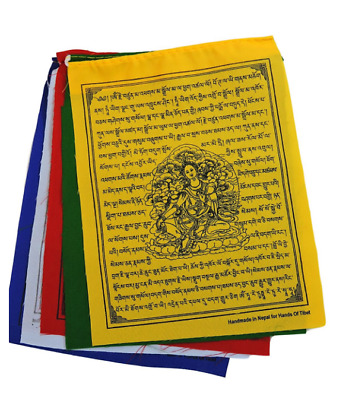 "Handmade Green Tara Prayer Flags - Set of 10 Flags, 6""x8"""