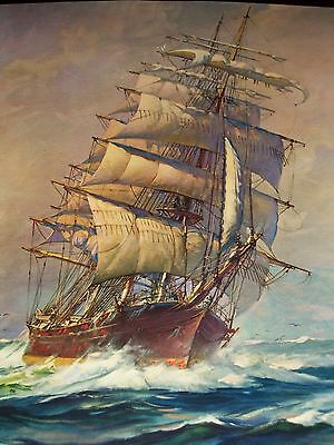 "VINTAGE STUNNING PRINT OF SCHOONER 20"" X 16"" - WONDERFUL DETAIL & COLOR!"