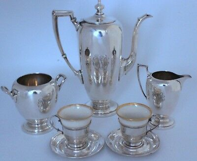 Pointed Antique Sterling Demitasse Chocolate / Coffee Pot Set Reed & Barton
