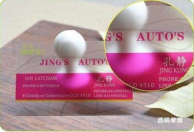 1000 Custom PVC Plastic Business Cards Printing -Texture Frosted Transparent