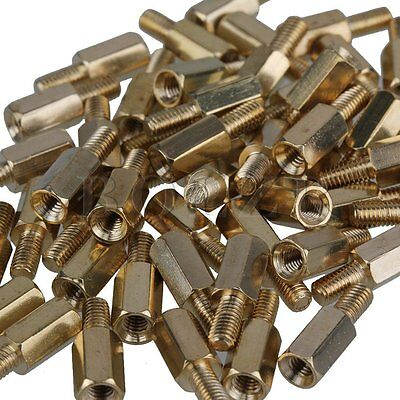 50 x Male Female PCB Thread Brass Standoff Pillars Standoff Spacers M3 10mm+6mm