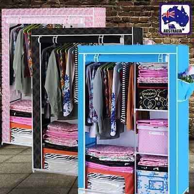 Portable Wardrobe Closet Clothes Storage Organiser Rack Blue Pink Black HCOCL47