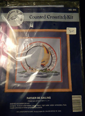 """Vintage Counted Cross Stitch Kit I'd Rather Be Sailing 11"""" x 11"""" Piece Sail Boat"""